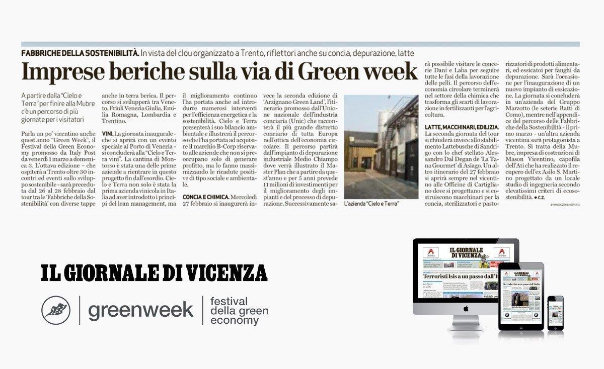 Il Giornale di Vicenza – Imprese beriche sulla via di Green week